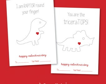 Dinosaur Colouring Valentine CARD PACKAGE / Dinosaur / Fill in the blank / Colouring Pages / 5x7 Card – Printable DIY, Instant Download