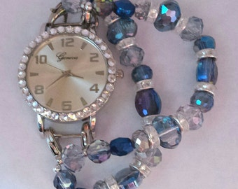 blue iridescent glass beaded watch band, stretch watch, women's watch, double stranded interchangeable beaded bracelet.