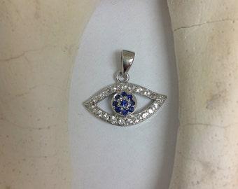 Genuine Blue and  White Sapphire Lucky Evil Eye Pendant