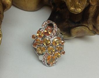 Genuine Orange Sapphire Flower Bouquet Ring