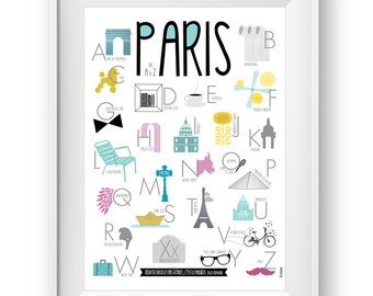 Alphabet poster Paris A to Z, Wall Art Prints