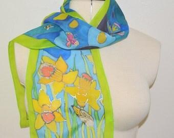 Spring Daffodils Scarf/Wall Hanging – Hand painted 100% Habotai Silk Scarf