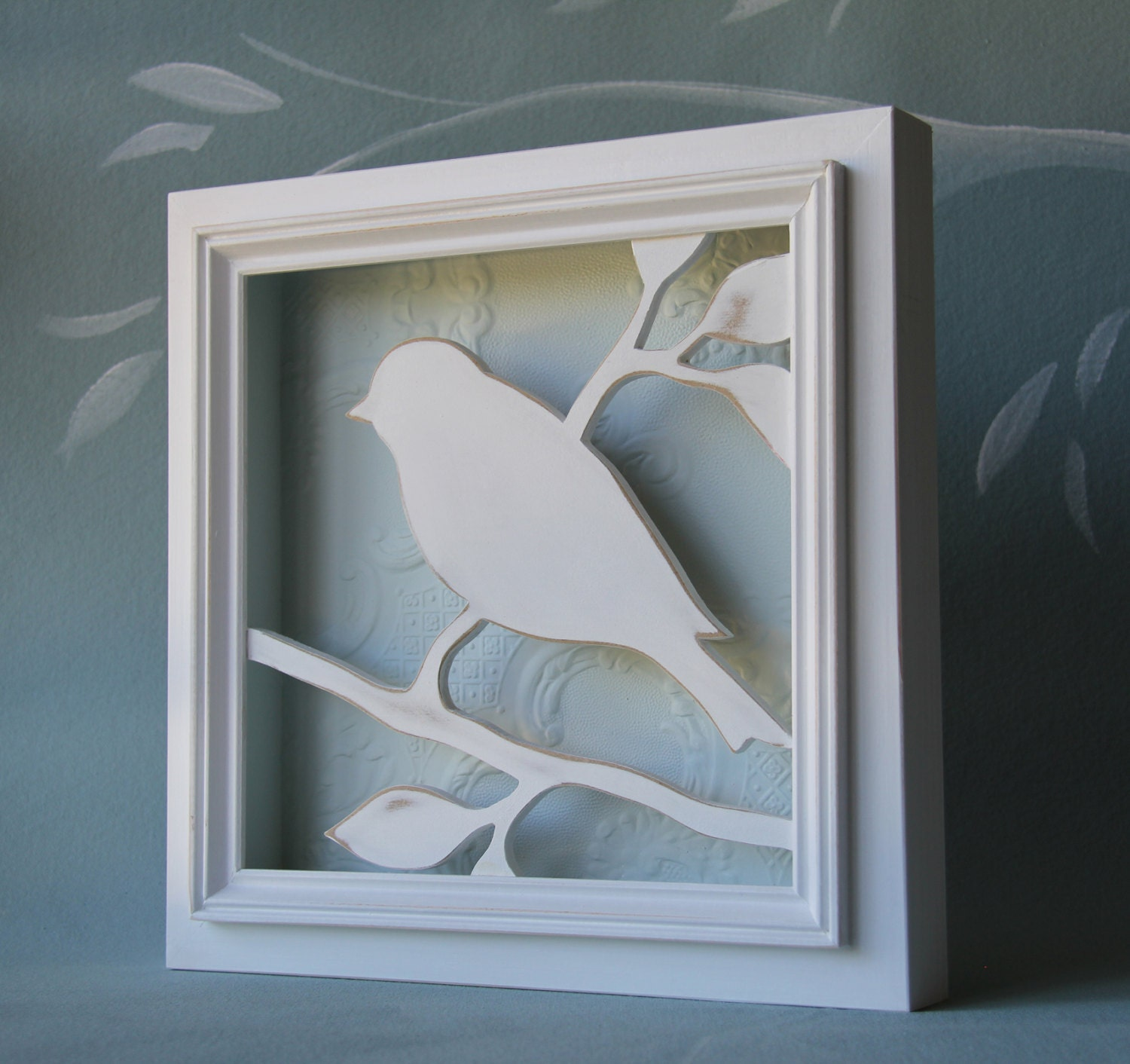 Shabby Chic Wood Bird Wall Decor 3d White And Soft By