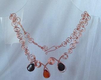 Wire wrapped copper necklace with semi precious stones