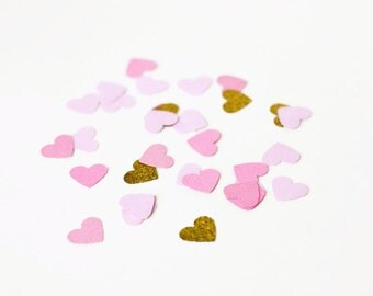 100 Pink Lilac and Gold Heart Confetti - Paper Confetti - Table Confetti - Valentines Day - Engagement Party - Wedding Decoration