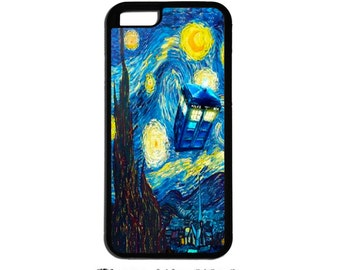 Tardis Doctor Who Starry Night Inspired Doctor Who iPhone 4, iPhone 5, iPhone 5c AND iPhone 6 & 6 Plus gear for  phone cases