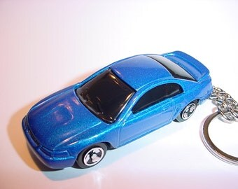 3D 1999 Ford Mustang GT custom keychain by Brian Thornton keyring key chain finished in blue color trim diecast metal body