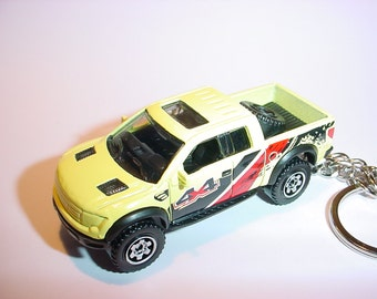 3D 2010 Ford F-150 Raptor truck custom keychain by Brian Thornton keyring key chain finished in soft yellow 4x4 racing trim pick up offroad