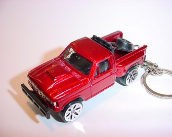 3D Chevrolet Stepside truck custom keychain by Brian Thornton keyring key chain finished in red metallic racing trim 4x4 pick up