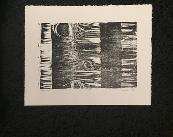 """Wood Block Carved Tree Print - 11.5"""" x 9"""" - Black and White"""
