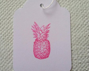 Hand Stamped Quirky Pink Pineapple Tags