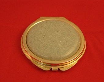 Mirror for purse or handbag with turned Corian button, a perfect gift, by Specialty Turned Designs