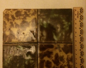 Brown and Green Glazed Pottery Tile