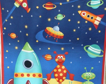 Space quilt etsy for Outer space fabric panel