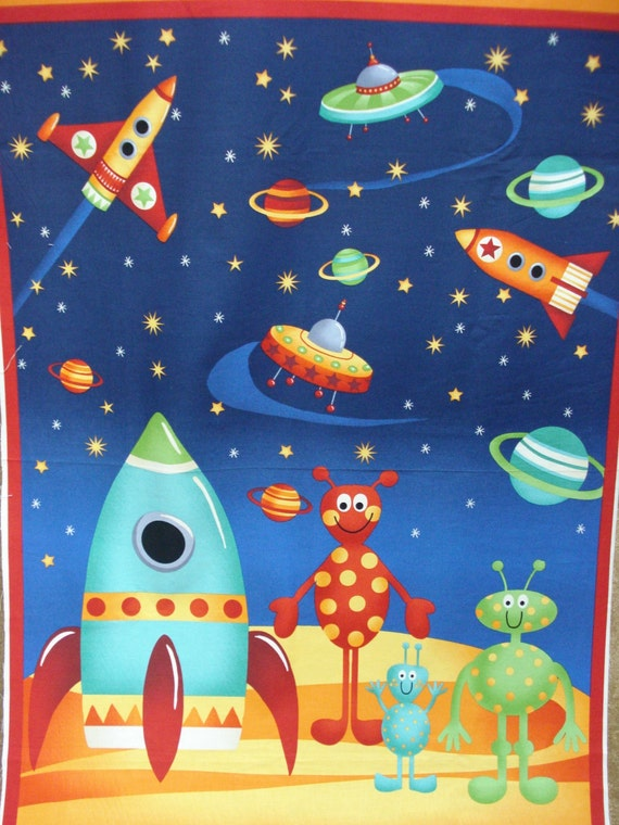 Children 39 s quilt panels aliens and rockets by for Space baby fabric