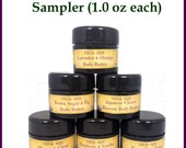 Birthday Gift - Organic Six Pack Mini Body Butter Samples (1 oz. Jars) (All natural skin care, vegan)| Moisturizer, Organic Lotion