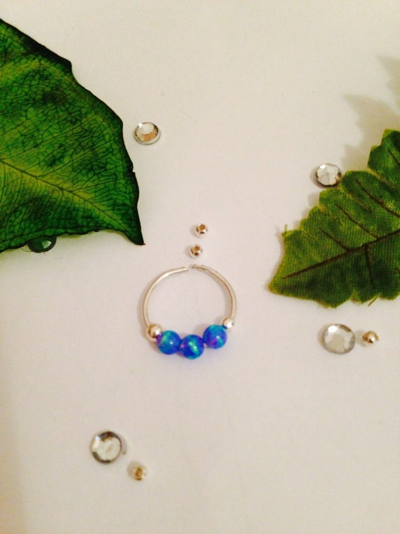 Septum ring,nose hoop,all blue style, ,septum ring , silver with 3 mm blue opal stone/silver  Septum for non pierce nose