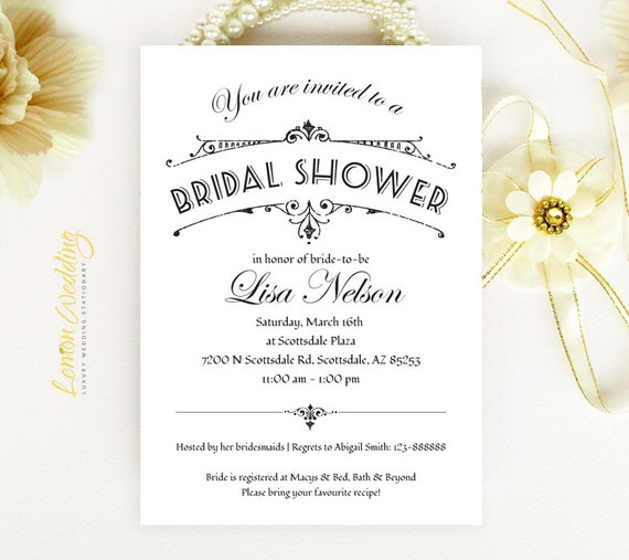 Cheap Bridal Shower Invitation Retro Vintage By LemonWedding