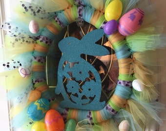 """12"""" Easter Tulle Wreath"""