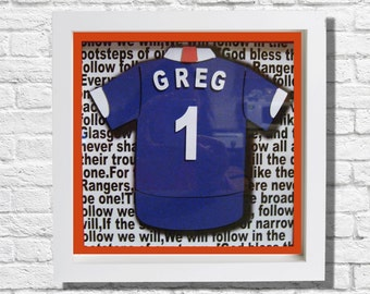 3d paper art,personalised,framed in shadow box, football top , any team colours