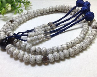Bodhi seed juzu japanese buddhist malas,prayer beads with blue string woven tassels,hand-made