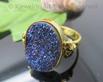 Drusy Ring, Sterling Silver Ring, Gemstone Ring