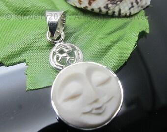 Carved Face Pendant, Sterling Silver Pendant, Gemstone Pendant