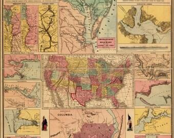 24x36 Poster; Civil War Military Map Charts 1861