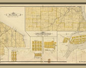 24x36 Poster; Map Of Bangor Frankenlust Kawkawlin Michigan 1896