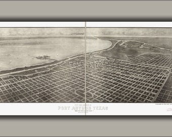 24x36 Poster; Map Of City And Harbor Of Port Arthur, Texas 1912