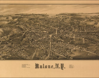 24x36 Poster; Map Of Malone, New York 1886