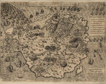 24x36 Poster; Map Of Malta, 1565