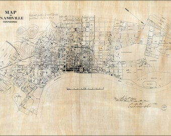 24x36 Poster; Map Of Nashville, Tennessee 1860