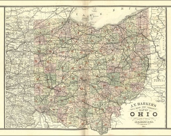 24x36 Poster; Map Of Ohio 1885