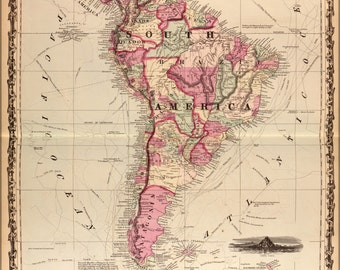 24x36 Poster; Map Of South America 1862