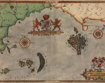 24x36 Poster; Spanish Armada Map Sir Francis Drake 1590 P2