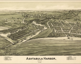 24x36 Poster; Birdseye View Map Of Ashtabula Harbor, Ohio 1896