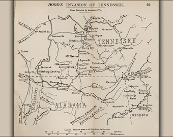 24x36 Poster; Civil War Map Of Hood'S Invasion Of Tennessee