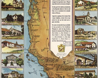 24x36 Poster; Map Of California Missions 1949