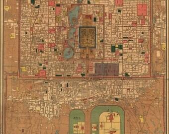 24x36 Poster; Map Of Peking Beijing China 1914