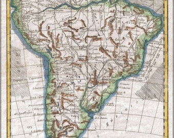 24x36 Poster; 1780 Raynal And Bonne Map Of South America