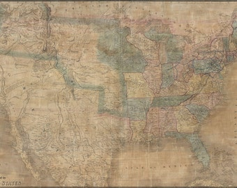 24x36 Poster; 1839 Burr Wall Map Of The United States (Only Example Of Jedediah Smith'S Map)