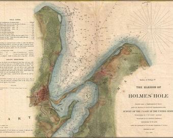 24x36 Poster; 1847 U.S. Coast Survey Map Of Holmes' Hole (Vineyard Haven),