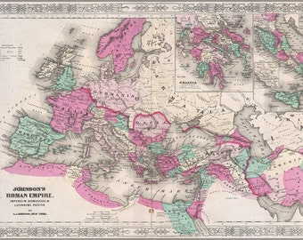 24x36 Poster; A J Johnson'S c.1864 Map Of The Roman Empire