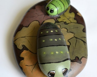 Hand Painted Stone - Abstract caterpillars on oak leaves