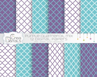 Purple and turquoise quatrefoils mix - 12 digital papers - DIRECT DOWNLOAD