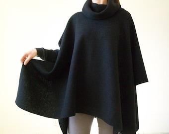 100% MERINO WOOL PONCHO/ Black Cape/ Women Ponchos/ Wool Poncho/ Hipster Sweater Poncho/ Plus Size Poncho Wrap/ Boho Poncho/ Shawl/ Cloak