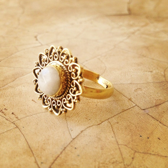 REDUCED Moonstone Ring Brass Ring Indian Ring by LalaBoho ...