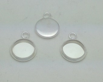 10mm Silver Plated Bezel Blank (qty 10)