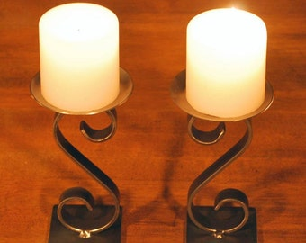 Pair of Ornamental Wrought Iron Table Top Candle Holder